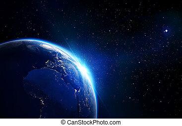 earth blue shining - horizon and stars