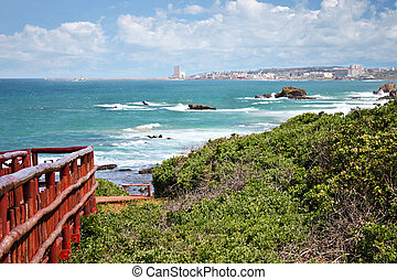East London town, South Africa, coastal line, town in the background