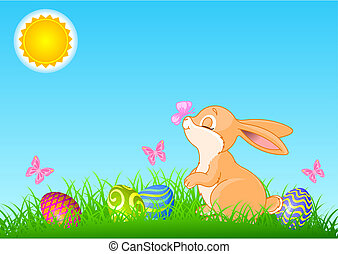 A cute Easter bunny standing near brightly colored eggs. All objects are separate