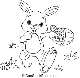 Coloring page of Easter Bunny Hiding Eggs