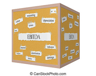 EBITDA 3D cube Corkboard Word Concept