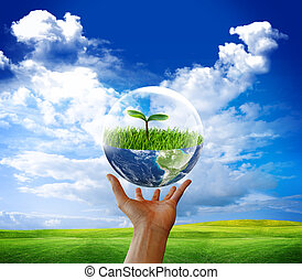 Earth in bubble water. Eco green