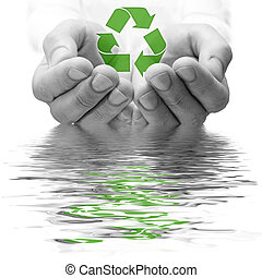 ecology concept. hands in a water with recycle symbol.