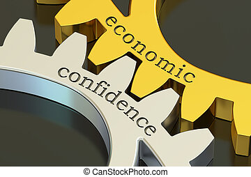 Economic Confidence concept on the gearwheels, 3D rendering
