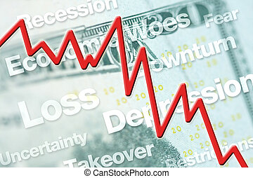 Economic downturn graphic with line chart and text.