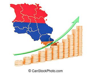 Economic growth in Armenia concept, 3D rendering