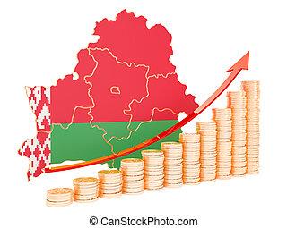 Economic growth in Belarus concept, 3D rendering