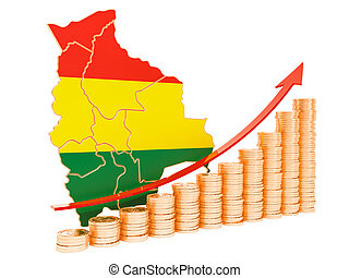 Economic growth in Bolivia concept, 3D rendering
