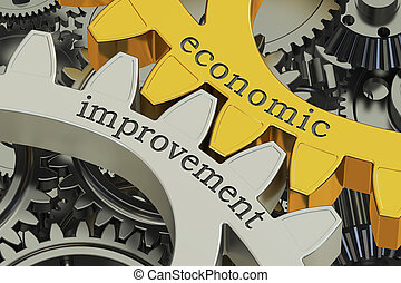 economic improvement concept on the gearwheels, 3D rendering