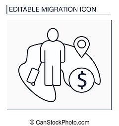 Economic migration line icon