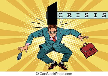 economic policy and crisis, impact on business, pop art retro ve