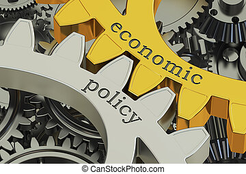 economic policy concept on the gearwheels, 3D rendering