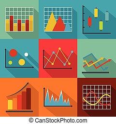 Economic policy icons set, flat style