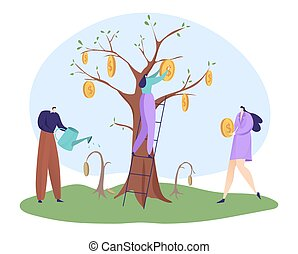 Economic recovery after coronavirus global crisis, businesswoman hold coin, businessman watering tree flat vector illustration, isolated on white.