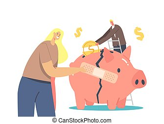 Economic Recovery. Business People Try to Survive during Global Crisis. Businesswoman Stick Patch on Broken Piggy Bank