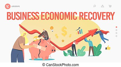 Economic Recovery Landing Page Template. Business People Characters Rising Arrow Graph Try to Survive at Global Crisis