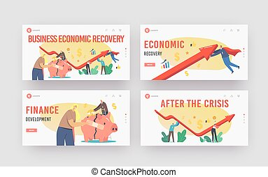 Economic Recovery Landing Page Template Set. Business People Characters Rising Arrow Try to Survive during Global Crisis