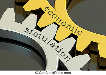 Economic Simulation concept on the gearwheels, 3D rendering
