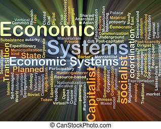 Economic systems background concept glowing