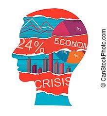 Economist, economy crisis, manager head silhouette.