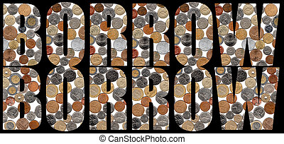 International World Economy Block letters filled with images of foreign coins