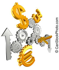 economy metal cogs and golden yen, dollar, euro and pound