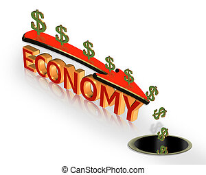 Illustration of dollar sign, down arrow and 3D text, Economy. Conceptual image for the current economic crisis.