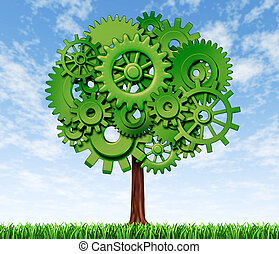 Business tree made of green gears and cogs on a blue sky as a symbol and financial concept of industrial and economic growth and success.