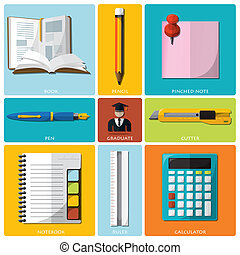 Education And Graduation Tools Flat Icon Set