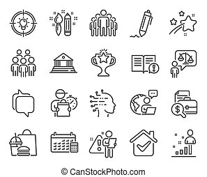 Education icons set. Included icon as Calendar, Lawyer, Group people signs. Vector