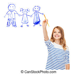little girl drawing with brush family portrait