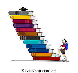 Stock vector of a kid climbing a books