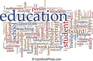 Word cloud concept illustration of education studies