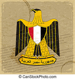 Egyptian coat of arms on an old sheet of paper