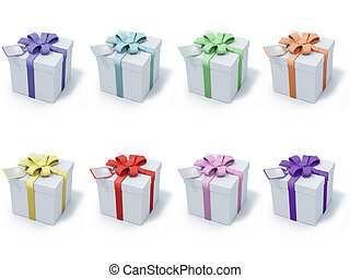 eight present boxes
