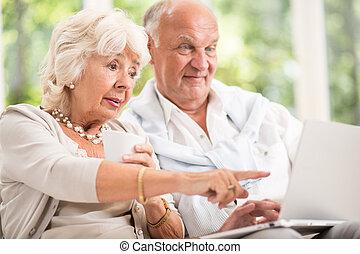 Elderly couple and modern technology