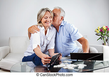 Elderly Couple Playing Games