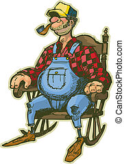 A Vector Cartoon of an Elderly Man in a Rocking Chair. Looks like a Farmer or someone who lives in the country. He has sideburns, a pipe, and a fat belly. Rendered in a sketchy illustration style, in layers for easy editing.