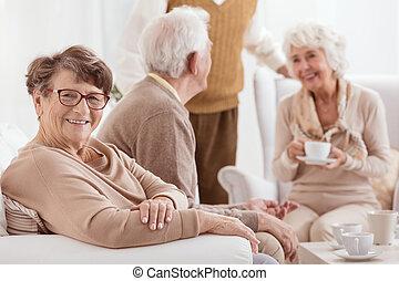 Elderly people spending time together