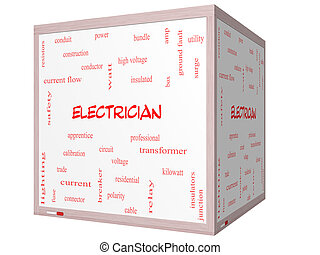 Electrician Word Cloud Concept on a 3D cube Whiteboard