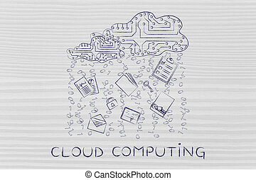 electronic circuit cloud with document rain, cloud computing