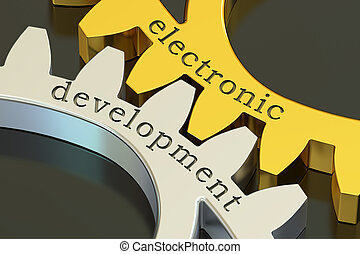 Electronic Development concept on the gearwheels, 3D rendering