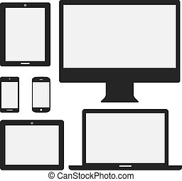 Set of electronic device icons isolated on white background. Devices include desktop computer, laptop, tablet and mobile phones.