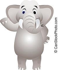 Elephant cartoon with hand waving
