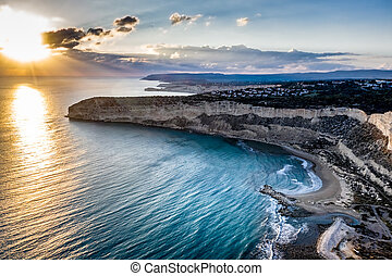 Elevated view of Zapalo bay, Cyprus