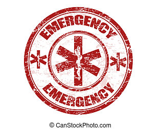 Red office rubber stamp with the emergency medical care symbol and the word emergency written inside