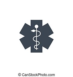 Emergency Star related vector glyph icon.