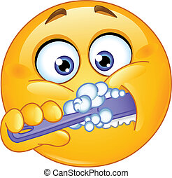 Emoticon brushing his teeth