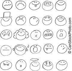 Emoticon doodles set. Vector hand drawn
