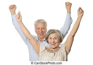 Emotional senior couple